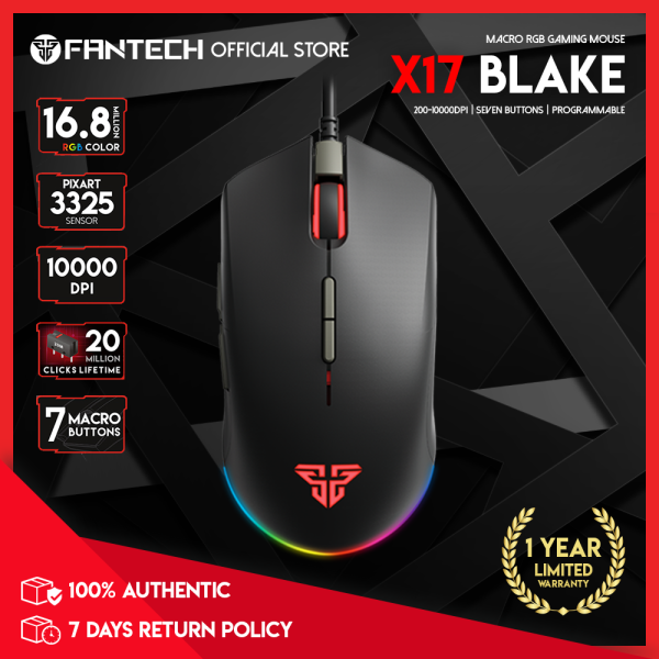 [Fantech Singapore] X17 BLAKE Macro RGB Gaming Mouse / 10000DPI / 7 Macro Programmable Buttons / RGB Illumination / 11 Spectrum Mode