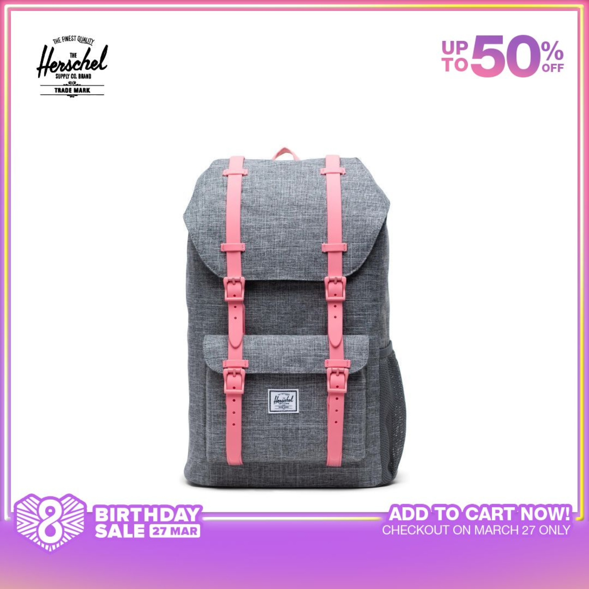 Herschel Little America Backpack Youth - Raven Crosshatch/Flamingo Pink