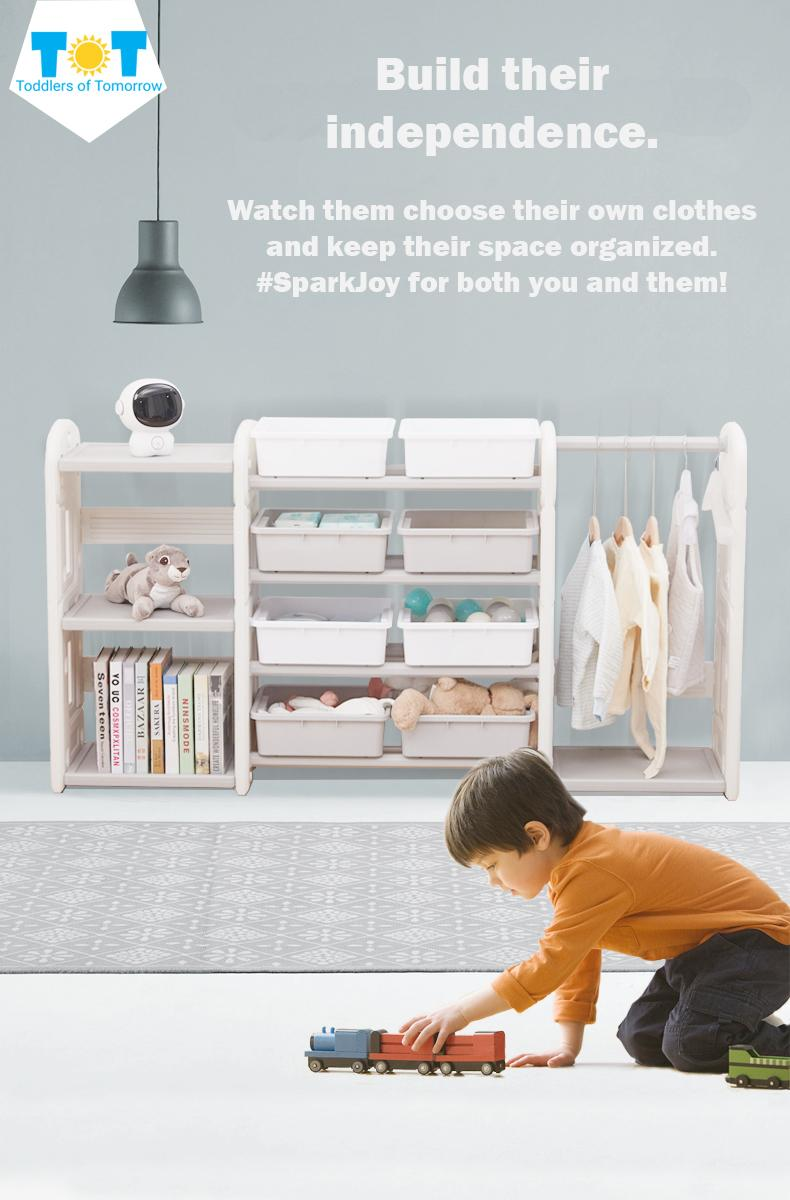 Kids Toy Storage Organizer Clothes Rack and Bookshelf Wardrobe Montessori (SG Seller)