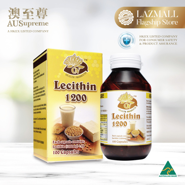 Buy AUSupreme Lecithin 1200mg - Promotes Fats Reduction & Boosts Metabolism, Improves Brain Development & Digestive Health, Reduces Hair Loss & White Hair - (100 Capsules) Singapore