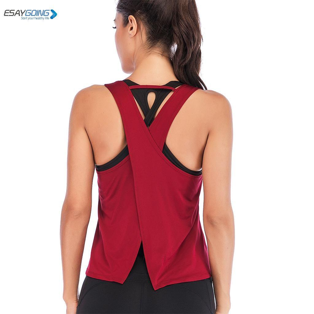 6bdeb8217b1f8 EASYGOING Female Sport Top Jersey Woman T-shirt Yoga Gym Fitness Sport Sleeveless  Vest Singlet