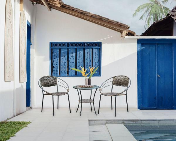 Outdoor Balcony Rattan Coffee Table + Chairs/Outdoor dining table/ 1+2 TEA SET/ GARDEN SET