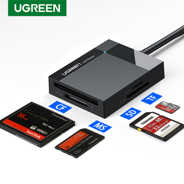 UGREEN 1Meter SD Card Reader USB 3.0 Card Hub Adapter 5Gbps Read 4 Cards Simultaneously CF, CFI, TF, SDXC, SDHC, SD, MMC, Micro SDXC, Micro SD, Micro SDHC, MS, UHS-I for Windows, Mac, Linux - intl