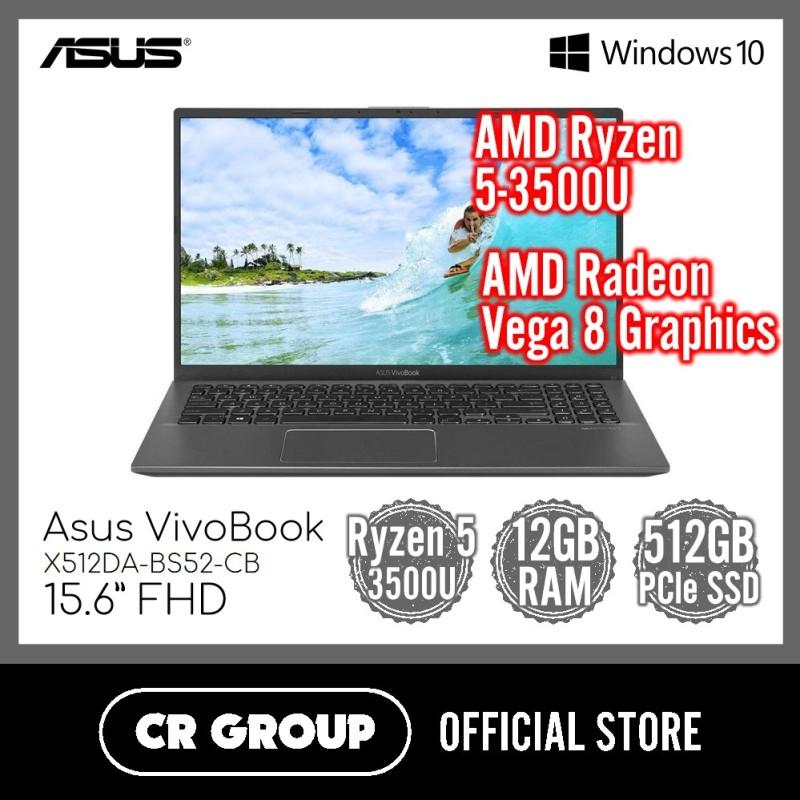 [Same Day Delivery] Asus VivoBook X512DA 15.6 Inch FHD | AMD Ryzen 5-3500U | 12GB DDR4 RAM | 512GB PCle SSD | AMD Radeon Vega 8 Graphics