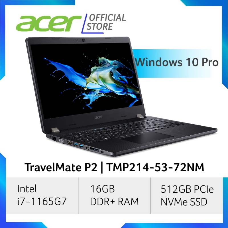 Acer TravelMate P2 TMP214-53-72NM Business Laptop with Windows 10 Professional, 11th Gen Intel Core i7-1165G7 processor