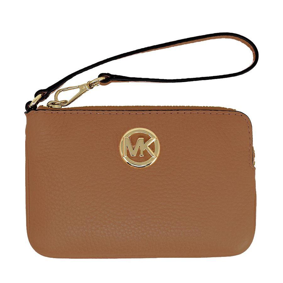 4bd07e82d627da NEW ARRIVAL Michael Kors Fulton Medium Top Zip Wristlet Luggage Brown