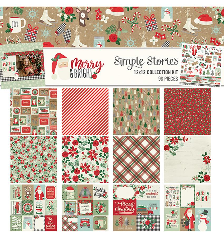 Merry & Bright Christmas Scrapbooking Collection Kit, 12 X 12 Paper And Sticker Sheet By Craftforher.
