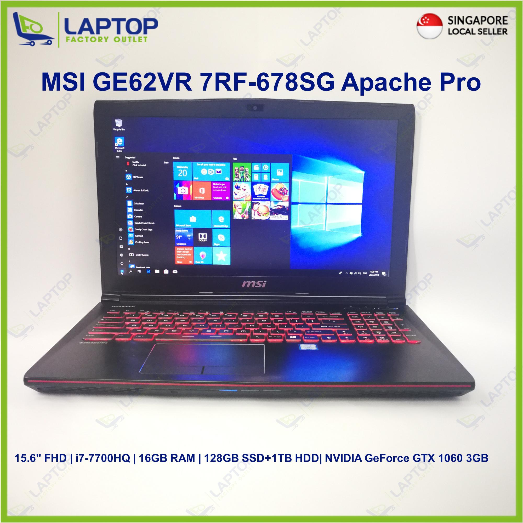 MSI GE62VR 7RF-678SG Apache Pro(i7-7/16GB/128GB+1TB)Premium Preowned [Refurbished]