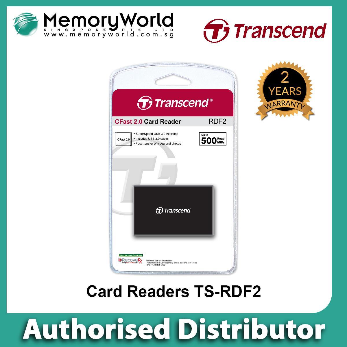Transcend USB 3.0 CFast 2.0 Reader TS-RDF2 (Black) . Warranty: 2 years. Local Singapore Warranty. **TRANSCEND Authorised Partner **