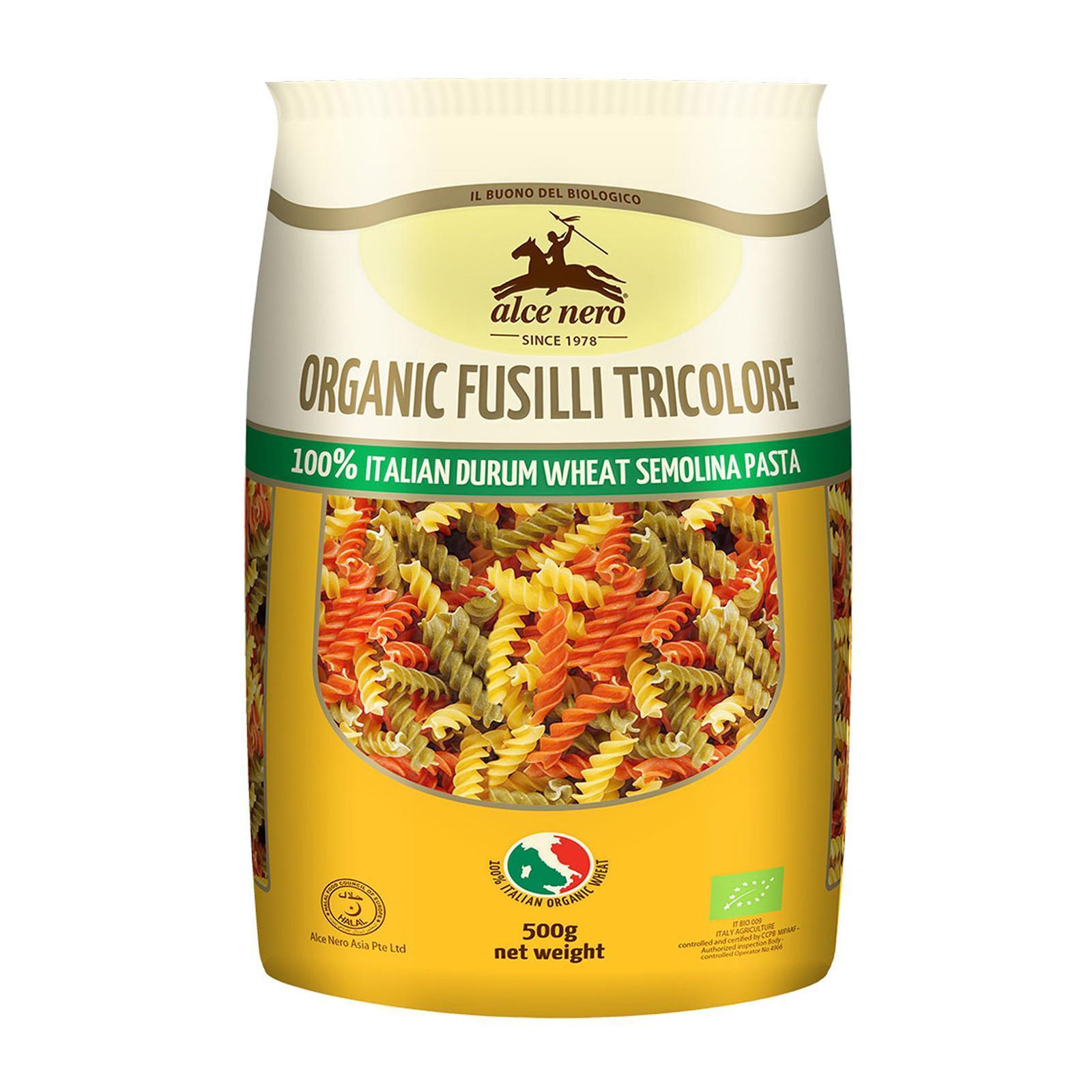Alce Nero Organic Durum Wheat Pasta - Fusilli Tricolore