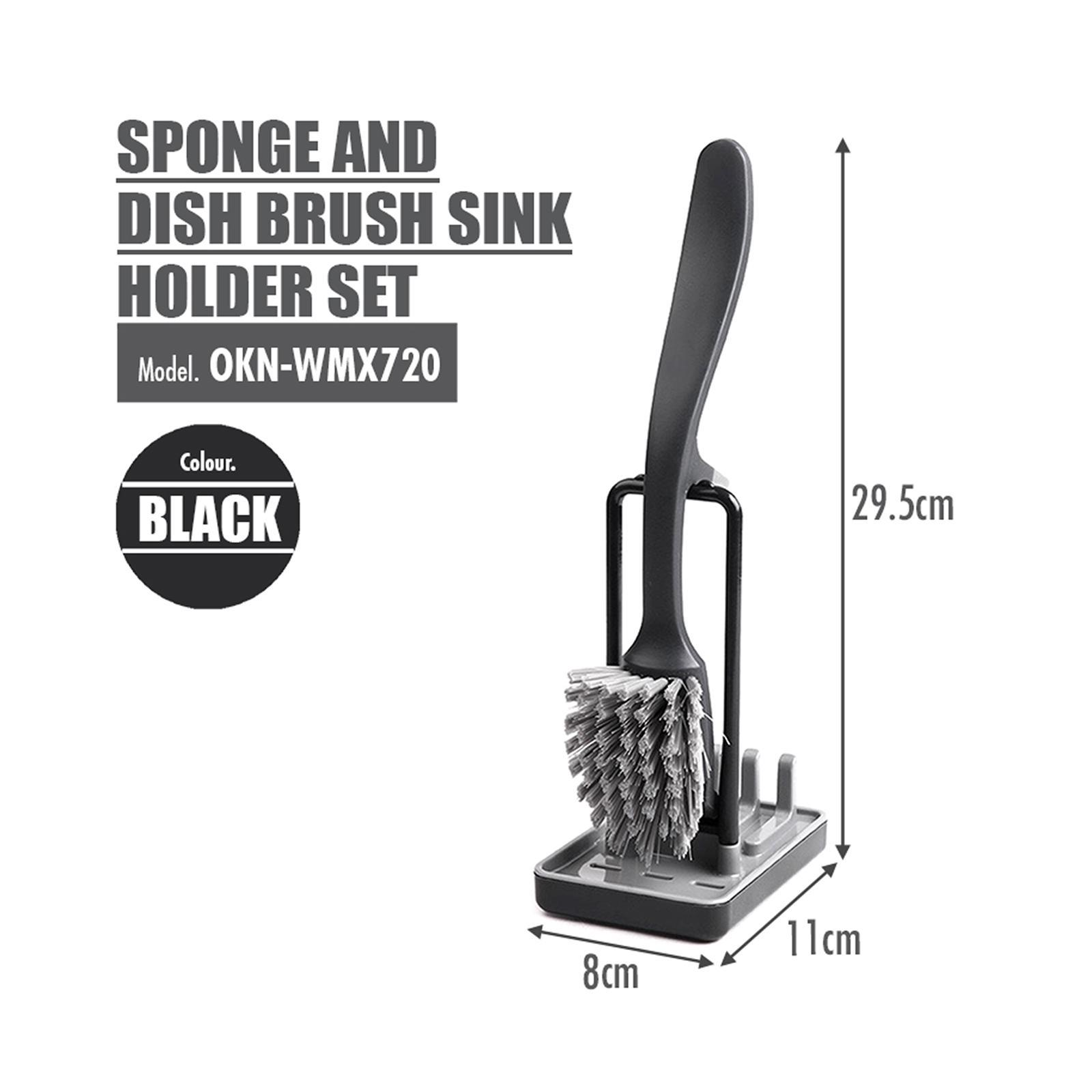 HOUZE Sponge And Dish Brush Sink Holder Set (Black)