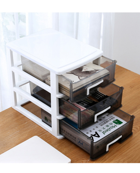 Desktop storage box drawer office documents cosmetics stationery sundries finishing plastic dust gray white