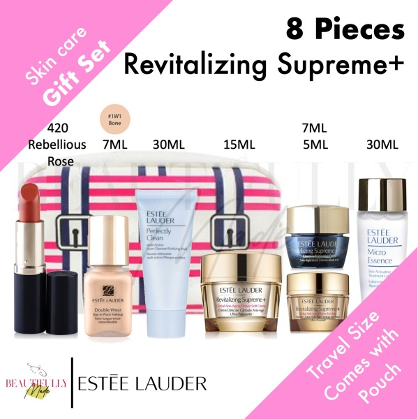 Buy Estee Lauder 8-Piece Gift Set - Revitalizing Supreme + Global Anti Aging Power Soft Cream 15ml + Eye Balm 5ml + Night Intensive Restorative Cream 7ml + Perfectly Clean 30ml + Micro Essence 30ml + Double Wear Stay in Place 7ml + Pure Color Envy Lipstick Singapore