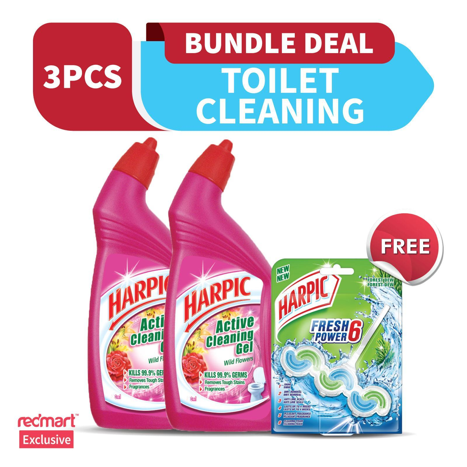 Harpic Wild Flowers Active Cleaning Gel Twin Pack Free Harpic White And Shine Fresh Power 6 Block Forest Dew