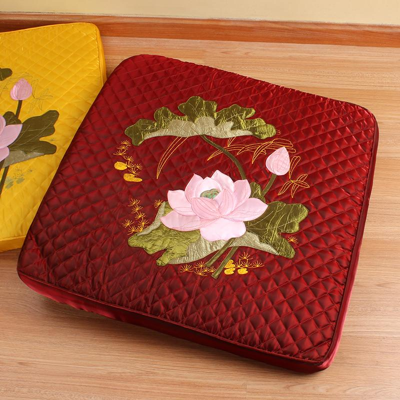 LOTUS Embroidered Square throw pillow Meditation Futon Meditation Pad Prayer Mats Buddha Pad Meditation Pad Washable