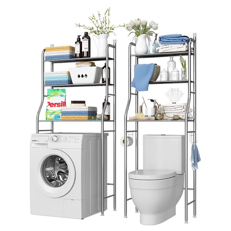 [SG Seller]Truslink 3 Tiers Bathroom Washroom Toilet Bowl Rack Shelves Shelf Space Saving Organizer Storage Towel Hooks Shampoo Hanger Stainless Steel Laundry Lavatory Washing Machine Rack Toilet Bowl Rack