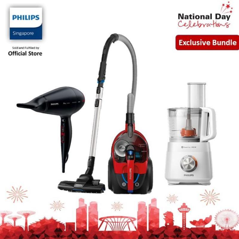 [EXCLUSIVE BUNDLE] Philips Bagless Vacuum FC9728/61, Food Processor HR7520/01 With Hair Dryer HPS910 Singapore