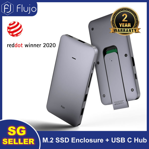 Flujo World First Multi-funtion Docking Station, USB C to M.2 SSD Enclosure, 10Gbps Type C Adapter to 4K 60Hz HDMI, 100W PD, SD/TF Card Slots, USB 3.1 to NVMe PCI-E M-Key Hard Disk Case for 2230/2242/2260/2280