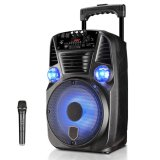 Discount 100Watt 8 Inch Luggage Style Outdoor Plaza Portable Dj Dynamic Atmosphere Lamp Built In Battery Sound System Trolley Speaker With 1 Microphone Usb Audio Input And Bluetooth Black Intl