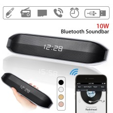 Best Price 10W Wireless Bluetooth Speaker Subwoofer Led Alarm Clock Stereo Fm Aux Tf Usb Black Intl