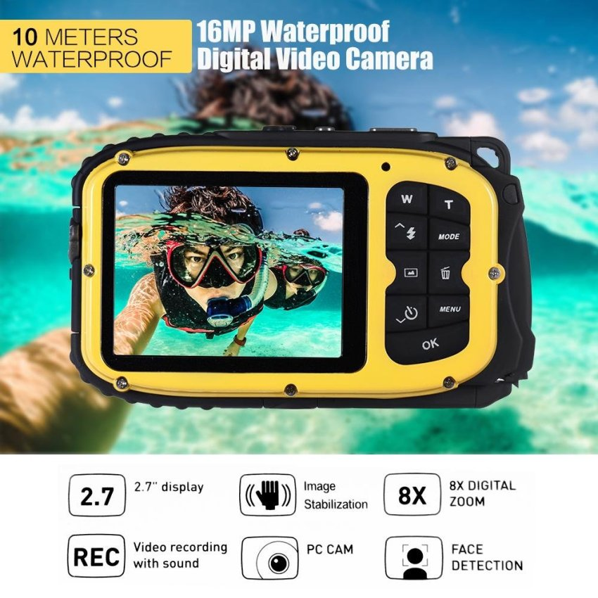 Compare 16Mp 2 7 Lcd Waterproof Digital Video Camera Mini Camcorder Dv Underwater Max 10M Diving 8X Digital Zooming Face Detection Yellow Outdoorfree Intl
