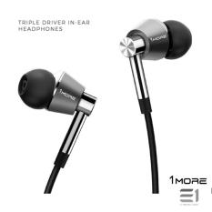 New 1More Triple Driver In Ear Headphones Silver
