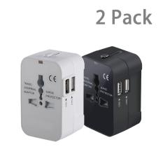 Who Sells 2 Pack Universal World Travel Adapter Dual Usb Ports Us Uk Eu Au Plug All In One Worldwide Power Converters International Ac Wall Charger Intl