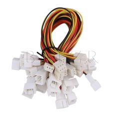 23cm Length 3pin Y-Cable Splitter Fan Power Cable Set of 10 Muticolor - intl