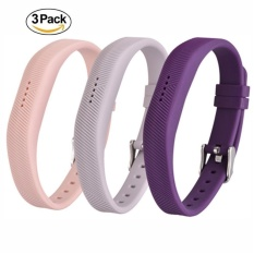 Buying 3 Pack Soft Silicone Replacement Colorful Strap Band With Adjustable Metal Clasp For Fitbit Flex 2 Intl