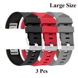 3 Pcs Sports Silicone Bracelet Strap Band Large Size 6 7 8 1 170Mm 206Mm For Fitbit Charge 2 Smart Watch Intl For Sale