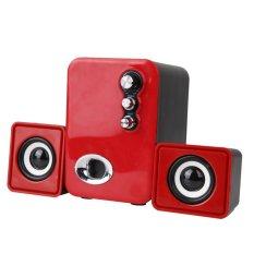 Sales Price 3D Sound 2 1 Ch Pc Computer Speaker With Dual Subwoofer Laptop Desktop Red Intl