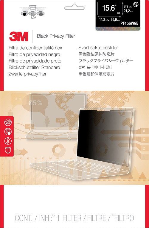 3M™ Privacy Filter For Touch Laptop 15.6 - Black - PF156W9E