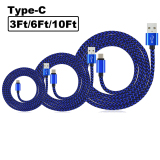 Price 3Pack 3Ft 6Ft 10Ft Rugged Bold Nylon Braided Usb Type C 3 1 To Usb 2 A Male Data Charging Sync Cable Reversible Charger Cord For Galaxy Note 7 Lg G5 Nexus 6P 5X Htc 10 Oneplus 2 3 Blue China