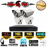 Brand New 4Ch Hd Cctv 4 Piecces Bullet And Dome Camera 1 4 Mp Dvr Kit Set Ahd Decoding New Exir 2017 Model 720P 960P 4Mm Lens Digital Video Recorder Free Adapter Free Camera Bracket Intl
