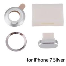 4Pcs/Set Protective Lens Dust Plug Storage Box Fingerprint Sticker For iPhone 7 Silver -