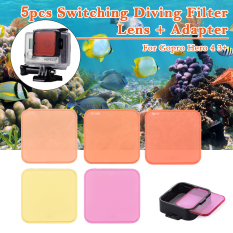 Get Cheap 5Pcs Diving Filter Kits Red Purple Yellow Lens Adapter For Gopro Hero 4 3
