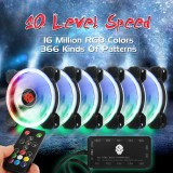 Brand New 6 Pack 1800Rpm Rgb Led Quiet Computer Case Pc Cooling Fan 120Mm Remote Control Intl