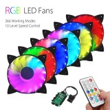 Retail 6Pcs Rgb Adjustable Led Cooling Fan 120Mm With Controller Remote For Computer Intl
