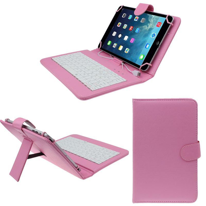 7 inch Universal Leather Case Cover with Micro USB Keyboard For Tablet PC PK - intl Singapore
