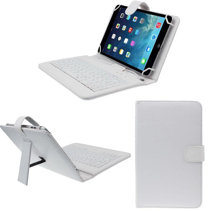 7 inch Universal Leather Case Cover with Micro USB Keyboard For Tablet PC WH - intl Singapore