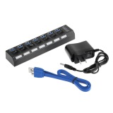 Who Sells 7Ports Usb 3 Hub With On Off Switch Eu Us Ac Power Adapter For Pc Laptop Us Plug Black Cheap
