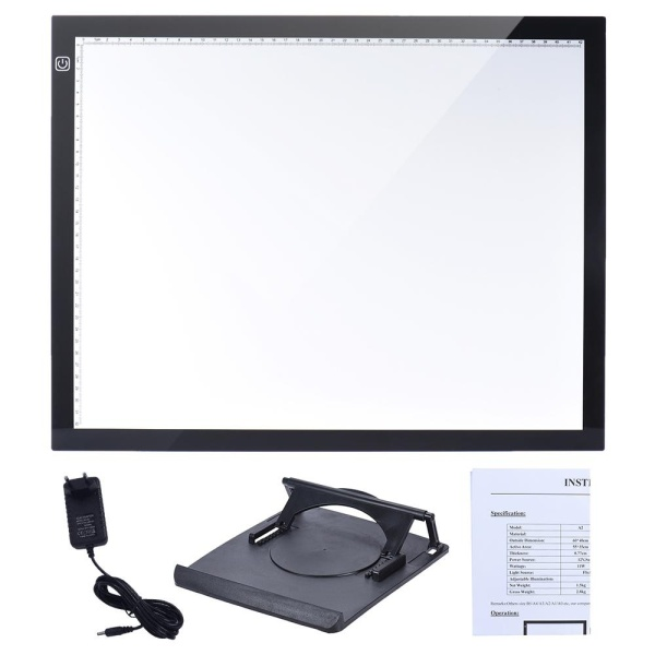 A3 47 * 37cm 21.4 inch LED Artist Stencil Board Tattoo Drawing Tracing Table Display Light Box Pad LED Copy Board Intelligent Touch Control 3 Adjustable Brightness Levels with Multifunction Holder - intl