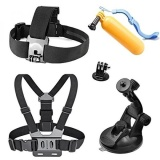 New Accessories Kit Chest Strap Floating Mount Wrist Strap Car Suction Cup For Gopro Hero 5 4 3 2 1 Wifi Underwater Akaso 4K Monba Me10 Action Camera Intl