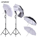 Andoer Photo Studio Continuous Umbralle Lighting Kit With 2 2M Light Stand 2 45W 5500K Photo Lamp Bulb 2 83Cm Translucent White Soft Umbrella 2 83Cm Black Silver Umbrella 2 Swivel Socket Intl Lower Price