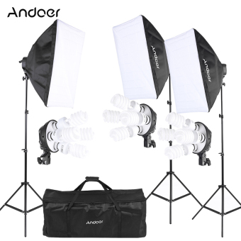 Discount Andoer Photography Studio Portrait Product Light Lighting Tent Kit Photo Equipment 12 45W Bulb 3 4In1 Bulb Socket 3 Softbox 3 Light Stand 1 Carrying Bag Intl Andoer