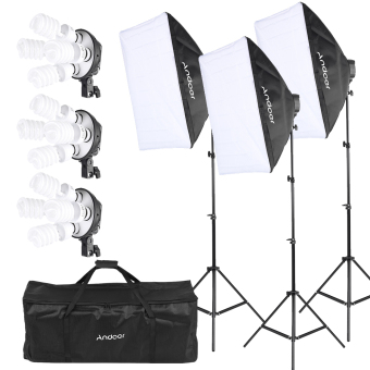 Price Comparisons Andoer Photography Studio Portrait Product Light Lighting Tent Kit Photo Equipment 12 45W Bulb 3 4In1 Bulb Socket 3 Softbox 3 Light Stand 1 Carrying Bag Outdoorfree