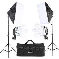 Andoer Studio Photo Lighting Kit With 2 * Softbox / 2 * 4in1 Bulb Socket / 8 * 45w Bulb / 2 * Light Stand / 1 * Carrying Bag By Tomtop.
