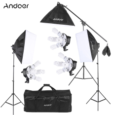 Andoer Studio Photo Video Softbox Lighting Kit Photo Equipment 15 45W Bulb 3 5In1 Bulb Socket 3 Softbox 3 Light Stand 1 Cantilever Stick 1 Carrying Bag Intl Discount Code