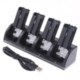 Best Rated Aoyou 4 In 1 Wii Remote Controller Charging Dock Station With 4 Rechargeable Batteries And Led Indicator Light Black Intl