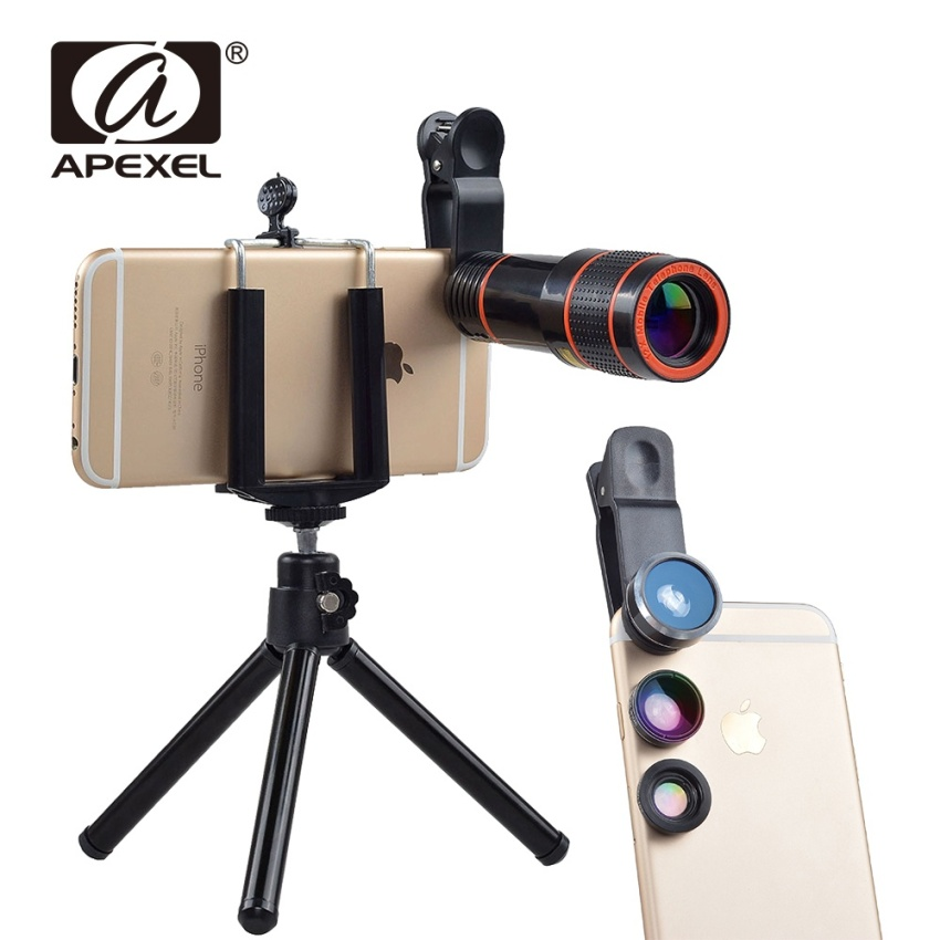 Best Deal Apexel 5 In 1 12X Zoom Telephoto Telescope Optical Lens Fisheye Wide Angle Macro Mobile Phone Lenses Universal For Iphone Sumgung Intl